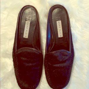 Anne Klein genuine black leather slip on flats